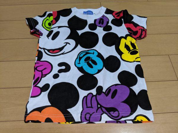 ミッキー、カラフルフェイスTシャツ