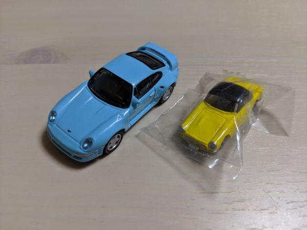 水色のポルシェと黄色いホンダS800のミニカー写真